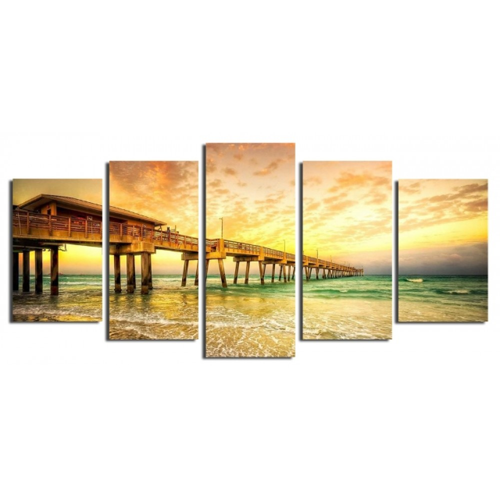 Original Art with Beautiful Beach Bridge Scenery